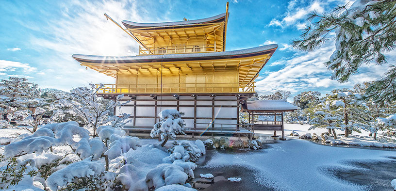 snowy golden temple in japan