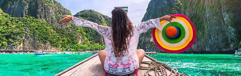 woman on boat in thailand