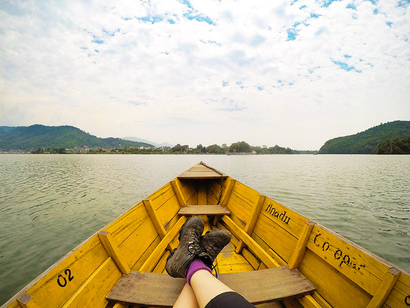 canoe ride in pokhara