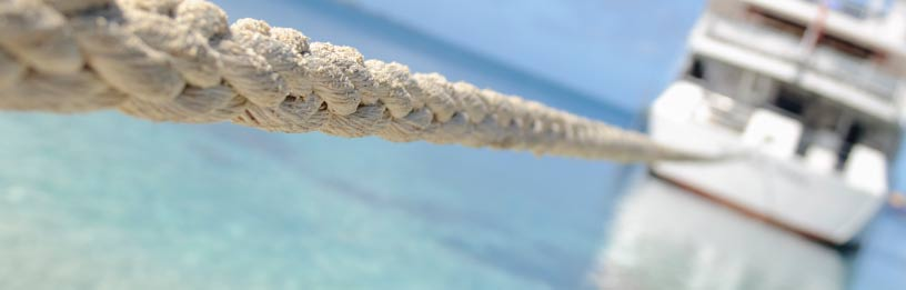 Boat with closeup of rope