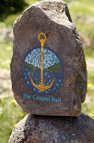 A colourful path marker for the Gospel Trail shows the way for the newest trail in the world.