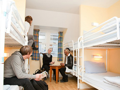 Here's an example of what an 8-bed dorm room could look like. Number of occupants can range from just one up to 16 people in one room.