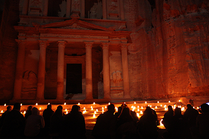 The ancient city of Petra by night