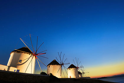 The Mykonos windmills are just one of many picturesque spots on the island