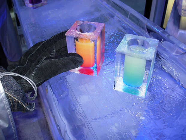 Ice bars tend to serve their colourful drinks in—you guessed it—ice cold shot glasses.