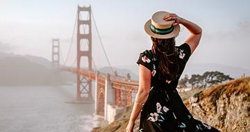 woman looking at golden gate bridge